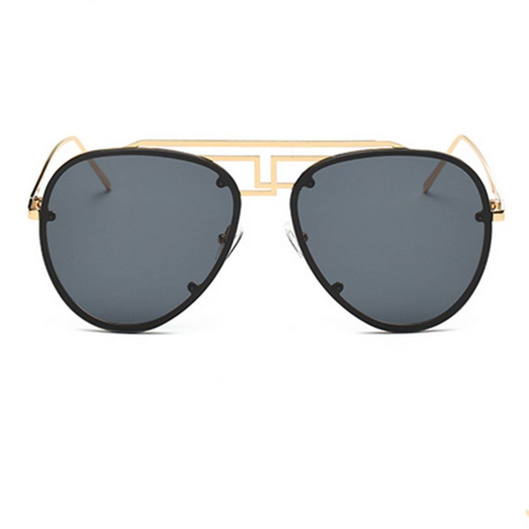 Double Top Bar Gold Frame Aviator Sunglasses