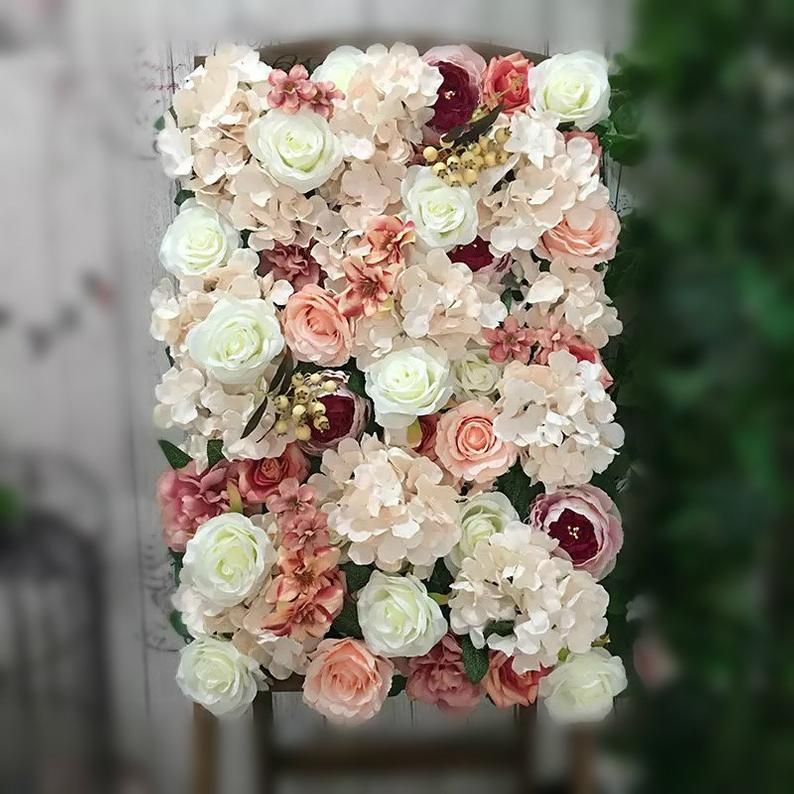 Dusty Pink And Cream White Flower Wall Panels Flower Photo Etsy In 2020 Wedding Arch Flowers Real Touch Flowers White Rose Flower
