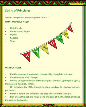 String of Principles - Free Kwanzaa Worksheet for Kids | Kwanzaa ...