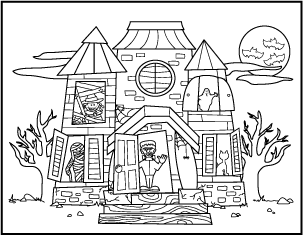 Free Printable Halloween Haunted House Coloring Pages Haunted House Coloring Pages W Halloween Coloring Sheets Free Halloween Coloring Pages Halloween Coloring