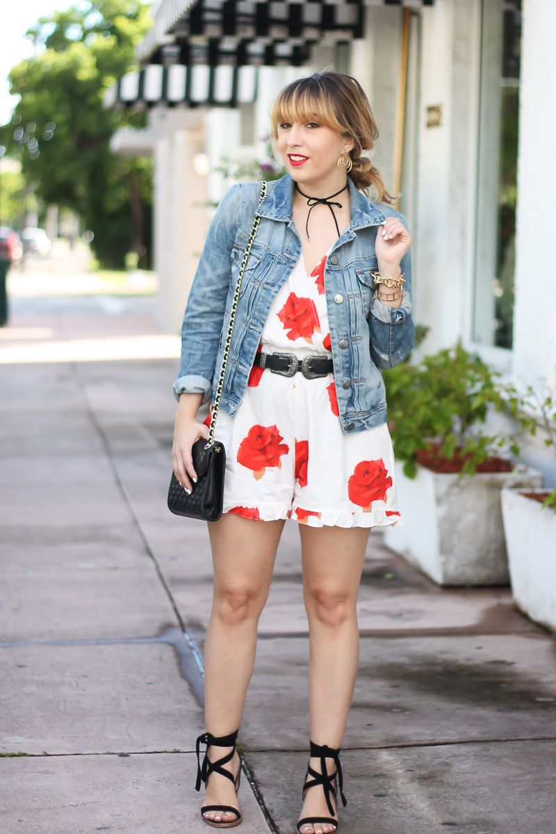 917cb610e0a1 Cute jean jacket and romper outfit idea