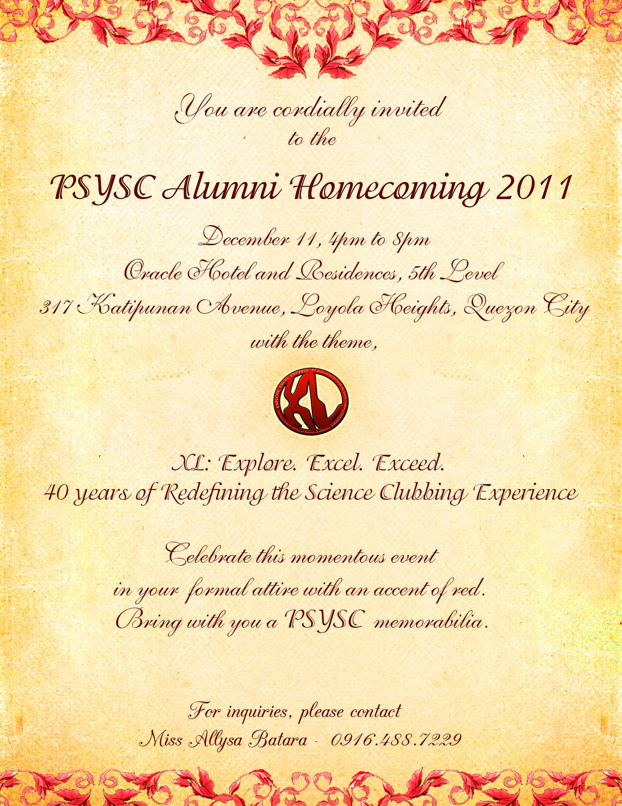 40th Alumni Homecoming Invitation Everything Psysc Alumni