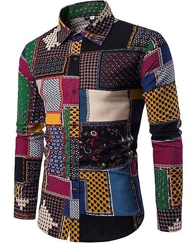 133d382ad5e90 Hombre Vintage Boho Tejido Oriental Noche Discoteca Todas las Temporadas  Camisa