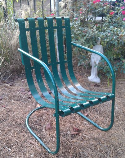 Retro Metal slat Lawn Furniture | Bouncers — Vintage Metal Furniture | Vintage  Patio Furniture . - Vintage 1940s 1950s Metal Lawn Chair Antique Metal Patio Rocking