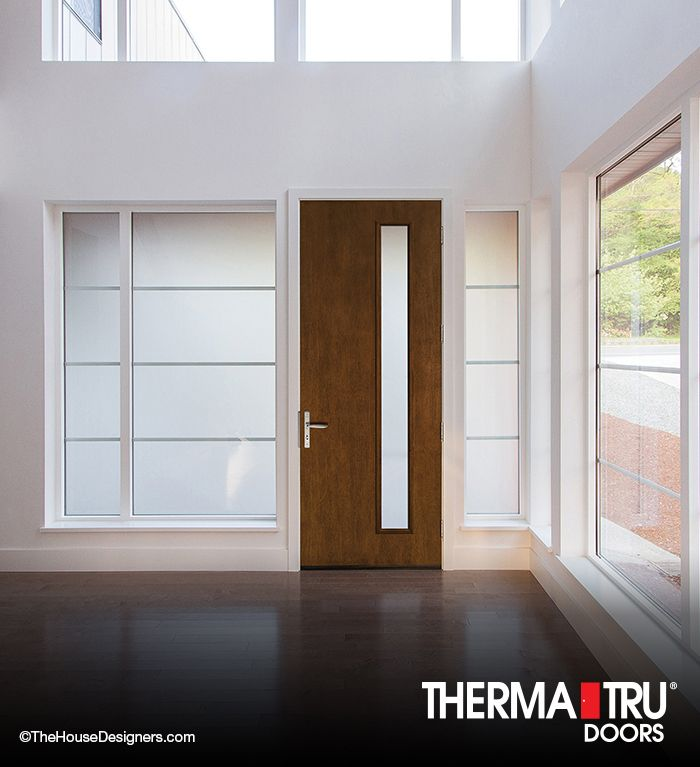 Modern Woodgrain Fiberglass Door By Therma Tru Mid Century Modern Door Fiberglass Entry Doors Modern Door