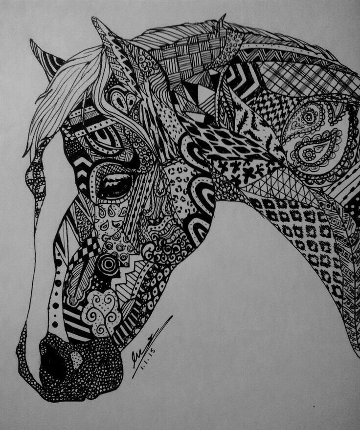 zentangle horse coloring pages - designful beautiful horse