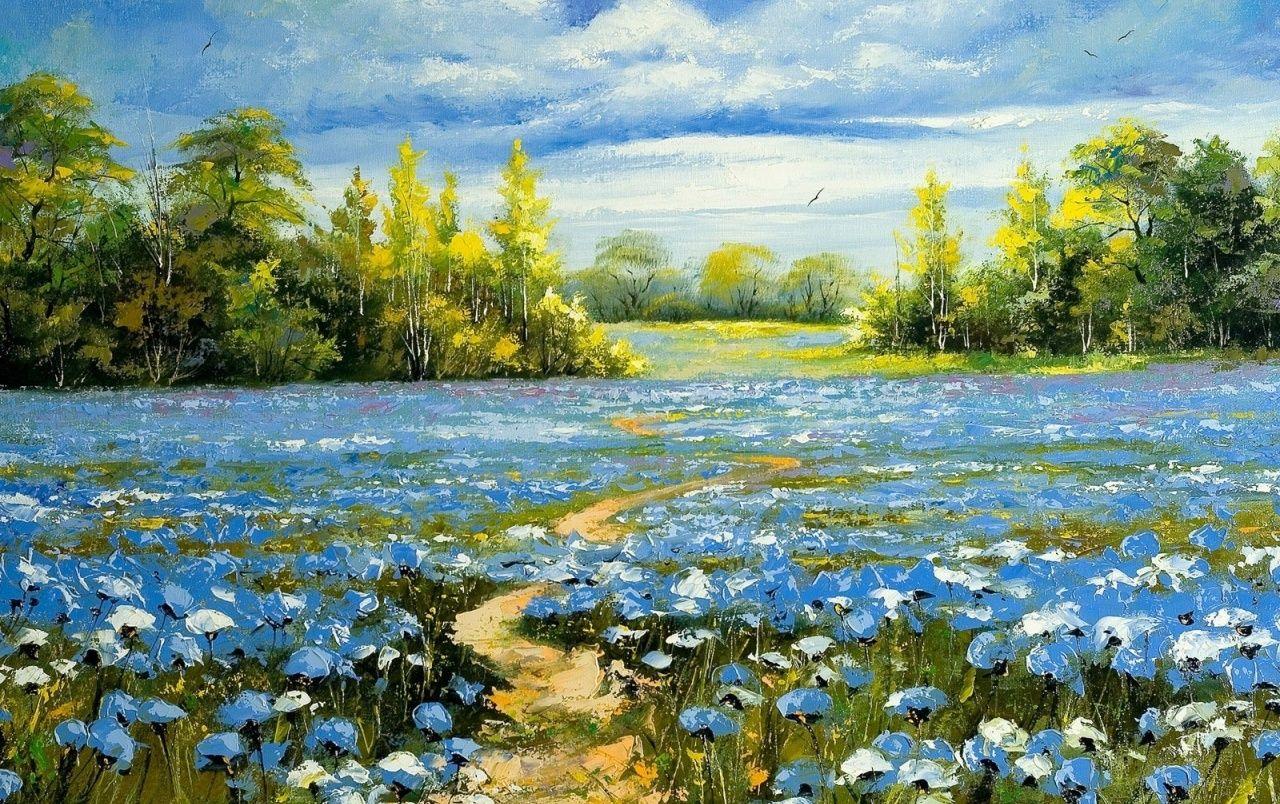 Niza Pintura del campo de flor azul wallpapers | Casual | Pinterest ...