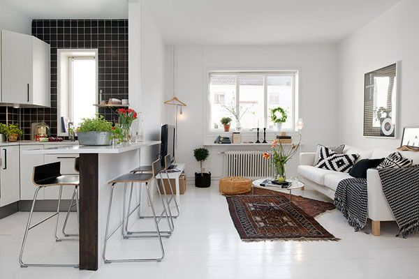 43 Warm And Stylish Scandinavian Living Rooms Small Apartment Interior Living Room And Kitchen Design Interior Design Apartment Small