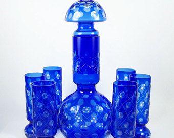 Vintage Desbordador Set 7 vasos cobalto corte claro 48 oz jarra 10 oz cóctel