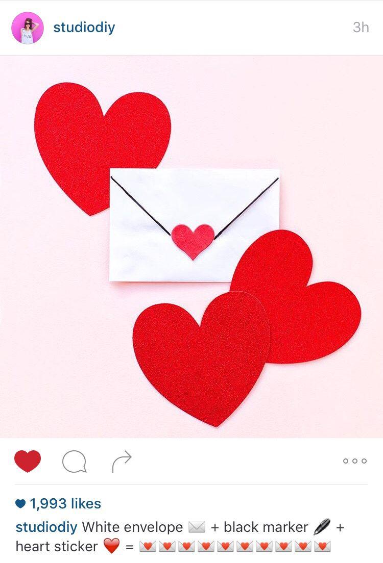 Envelope Black Pen Red Heart Sticker Emoji Envelope