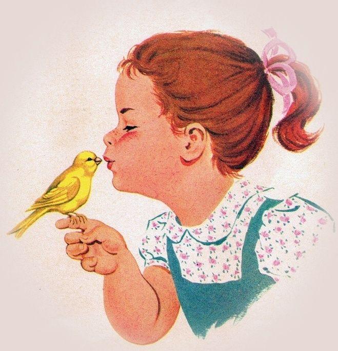 Meisje met kanarie pietje