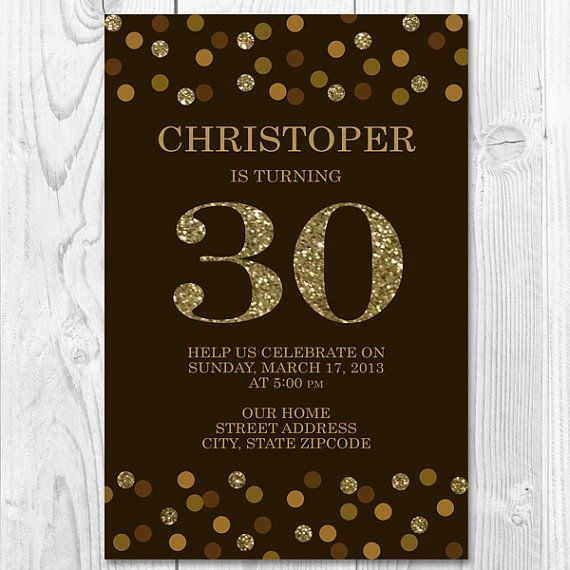 Chocolate and Gold Confetti Printable Party Invitation for ...