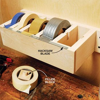 Simple and easy way to store your industrial tape in your garage. This tape dispenser makes it just as easy to get tape as the office tape dispenser and works just the same!