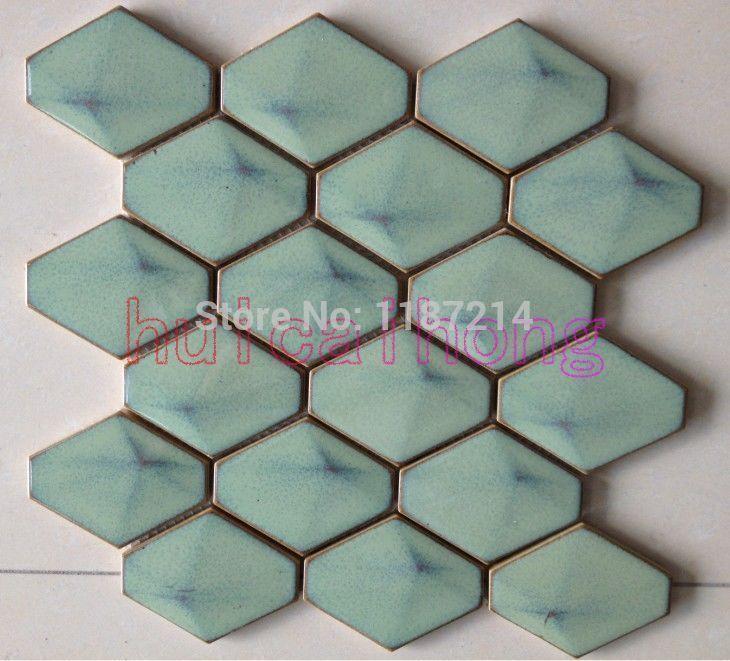 mirror mosaic tile,diamond mosaic,Rhombus ceramic mosaic tile(C021 ...
