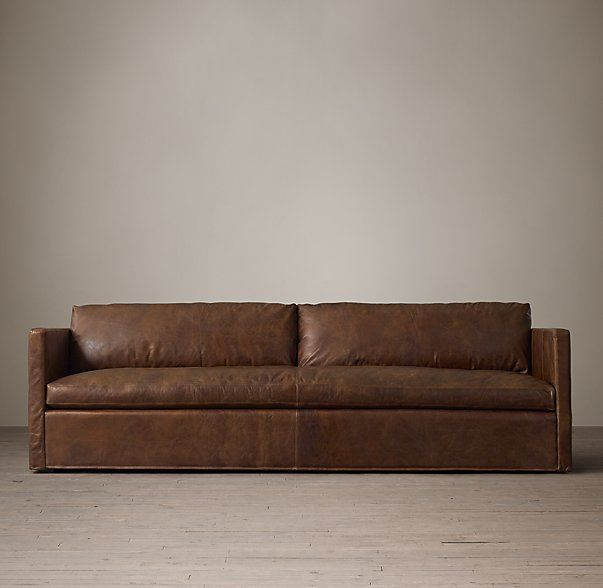 Belgian Classic Shelter Arm Leather Sofa Furniture