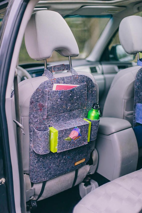 Grey Car Seat Organizer Protector Cover Extra Pockets For WildWind