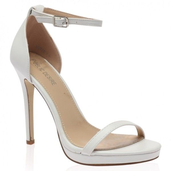 b15424a31bb Lottie White Barely There High Heel ($7.64) ❤ liked on Polyvore ...