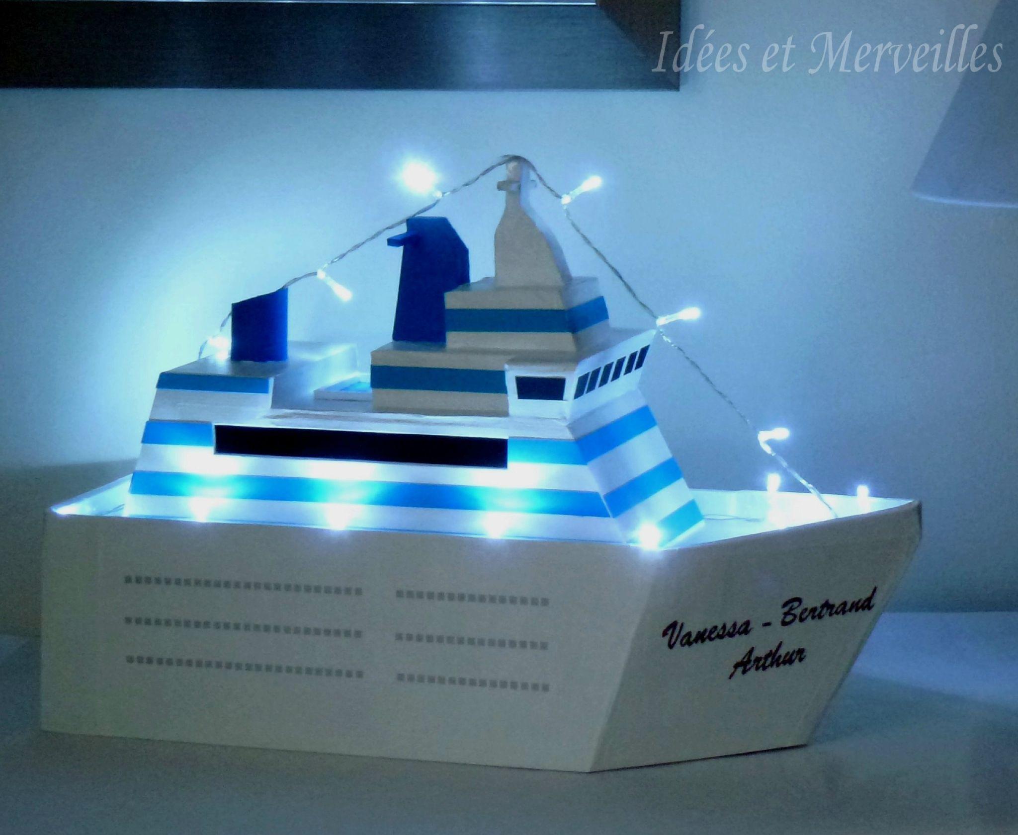 Urne bateau de croisiere turquoise idees et merveilles 1 mariage th me voyage pinterest - Decoration theme mer a faire soi meme ...