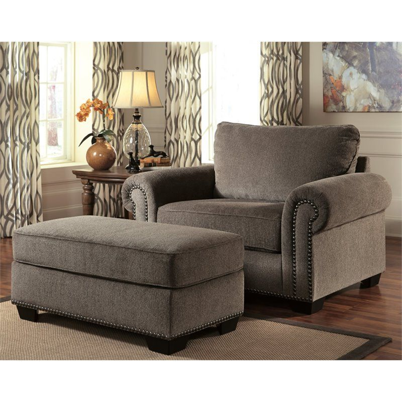 Ashley Emelen Chenille Oversized Accent Chair With Ottoman In