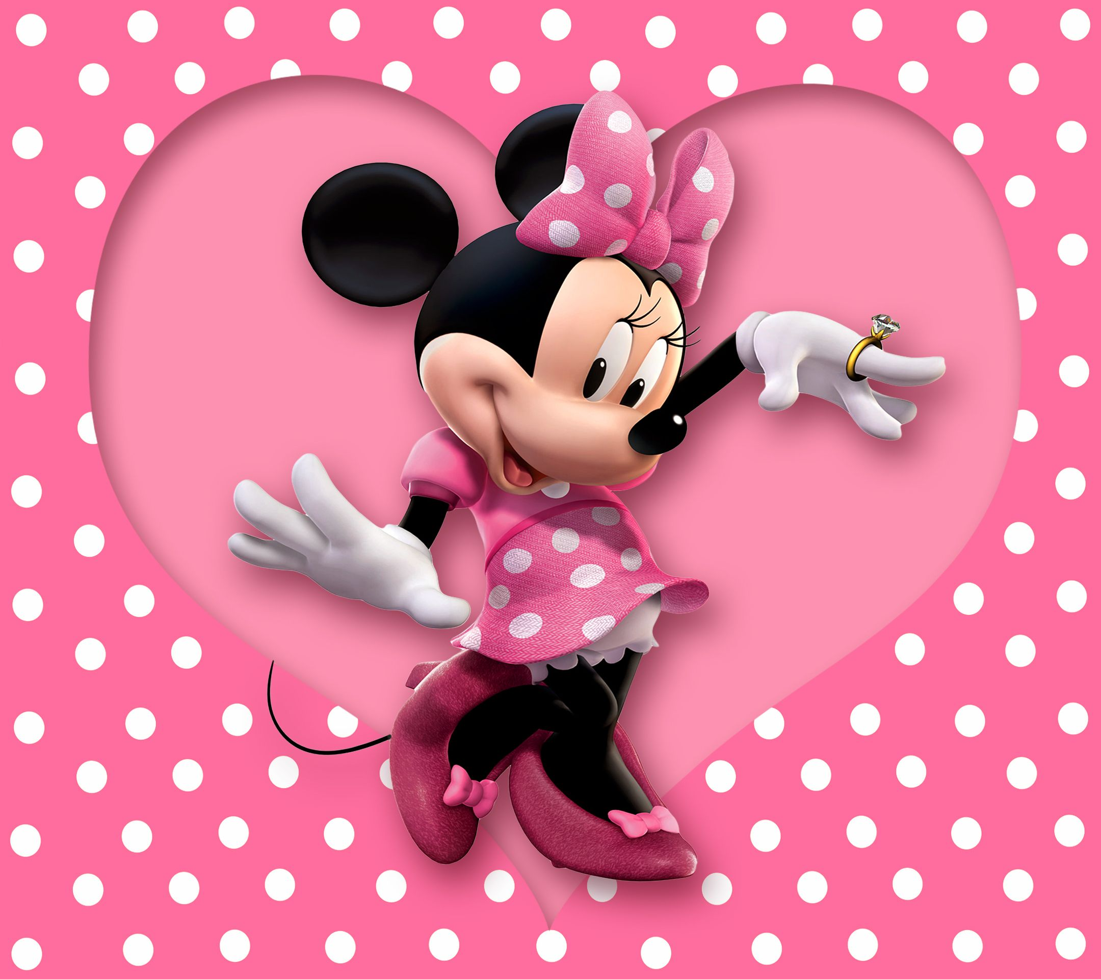 Minnie mouse wallpaper cartoon disney pink polka dots heart minnie mouse minnie mouse - Minnie mouse wallpaper pinterest ...