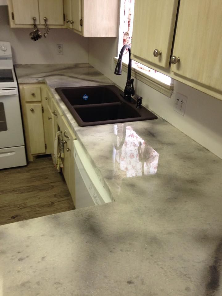 Overlay Kitchen Countertop Remodel Using Concrete Pigment And 100