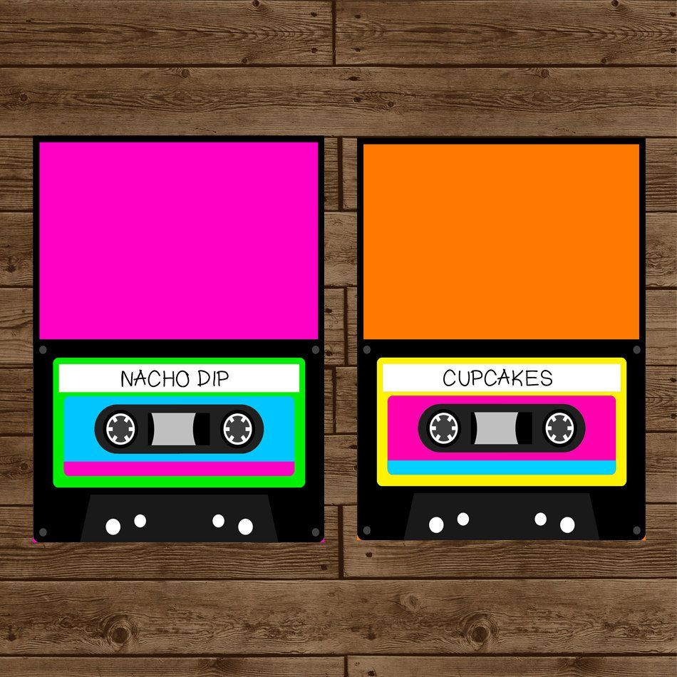 80s retro cassette inspired food label tent cards diy printable