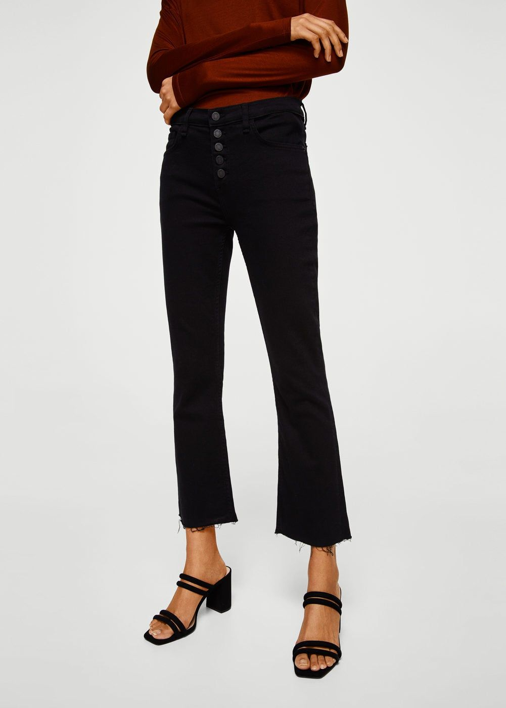 ef9237d50773 MANGO Cropped design Mid-rise Distressed light wash Belt loops Five pockets  Zip and button