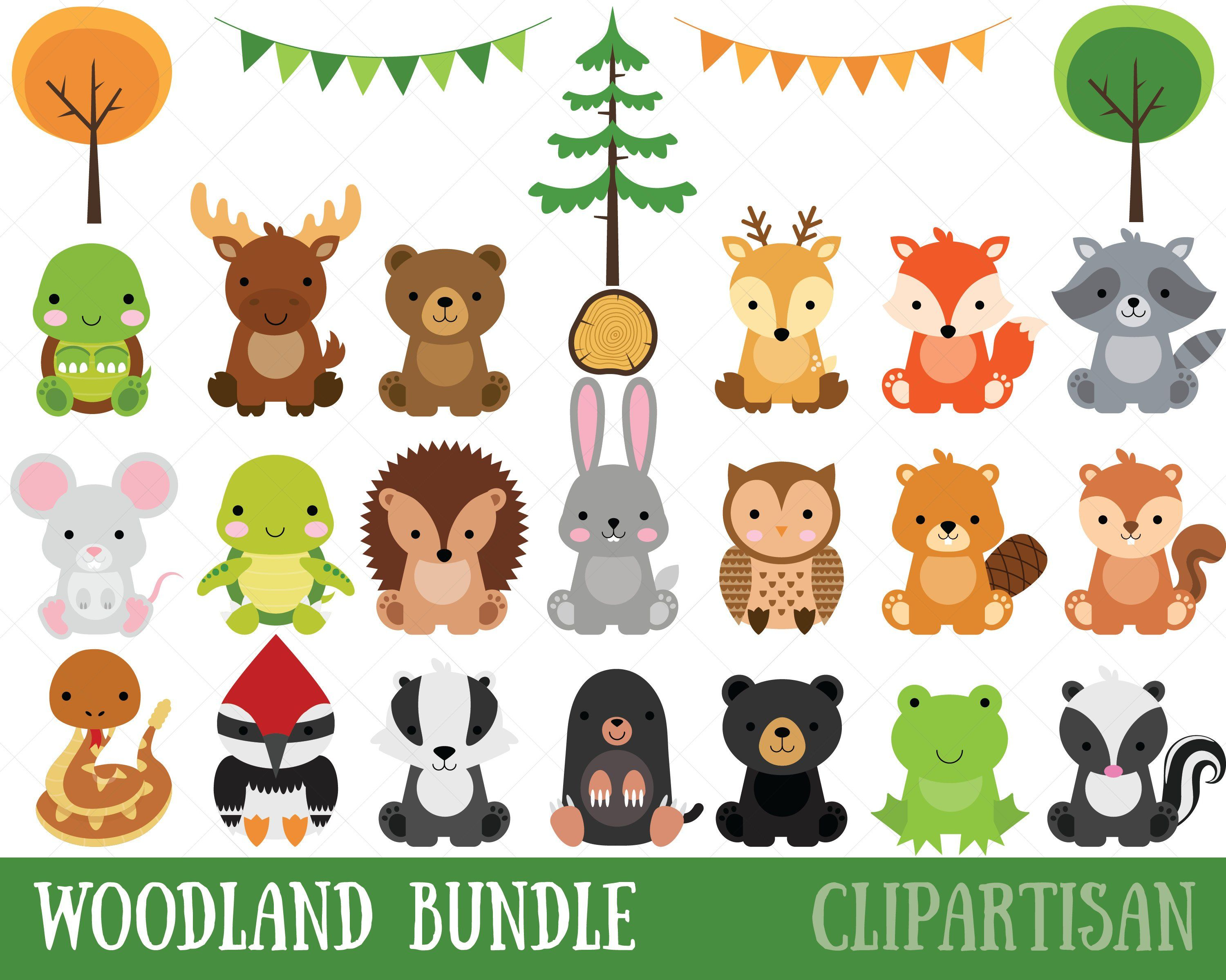 Woodland Baby Animals Clipart