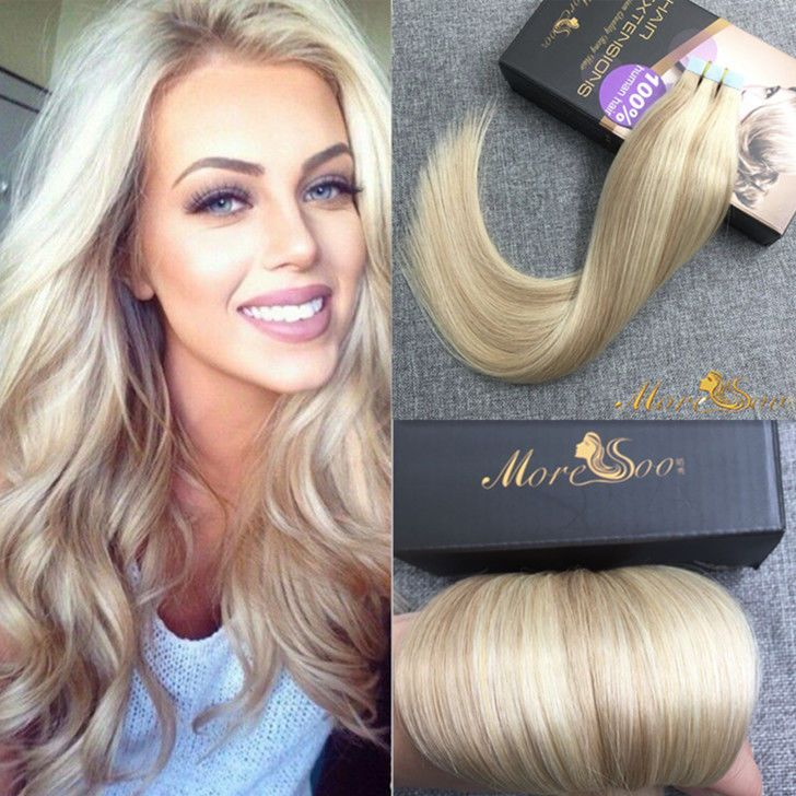Moresoo Honey Blonde Highlighted Tape In Hair Extension Remy Human