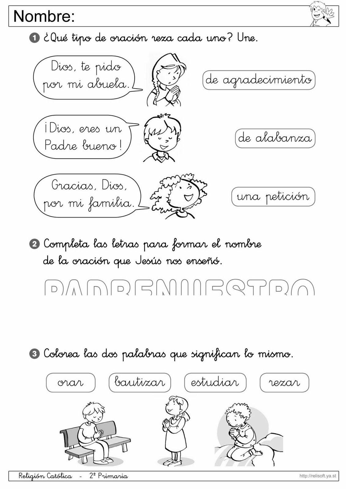 Recursos Religion Católica: Fichas 1º y 2º Primaria | Escuela ...