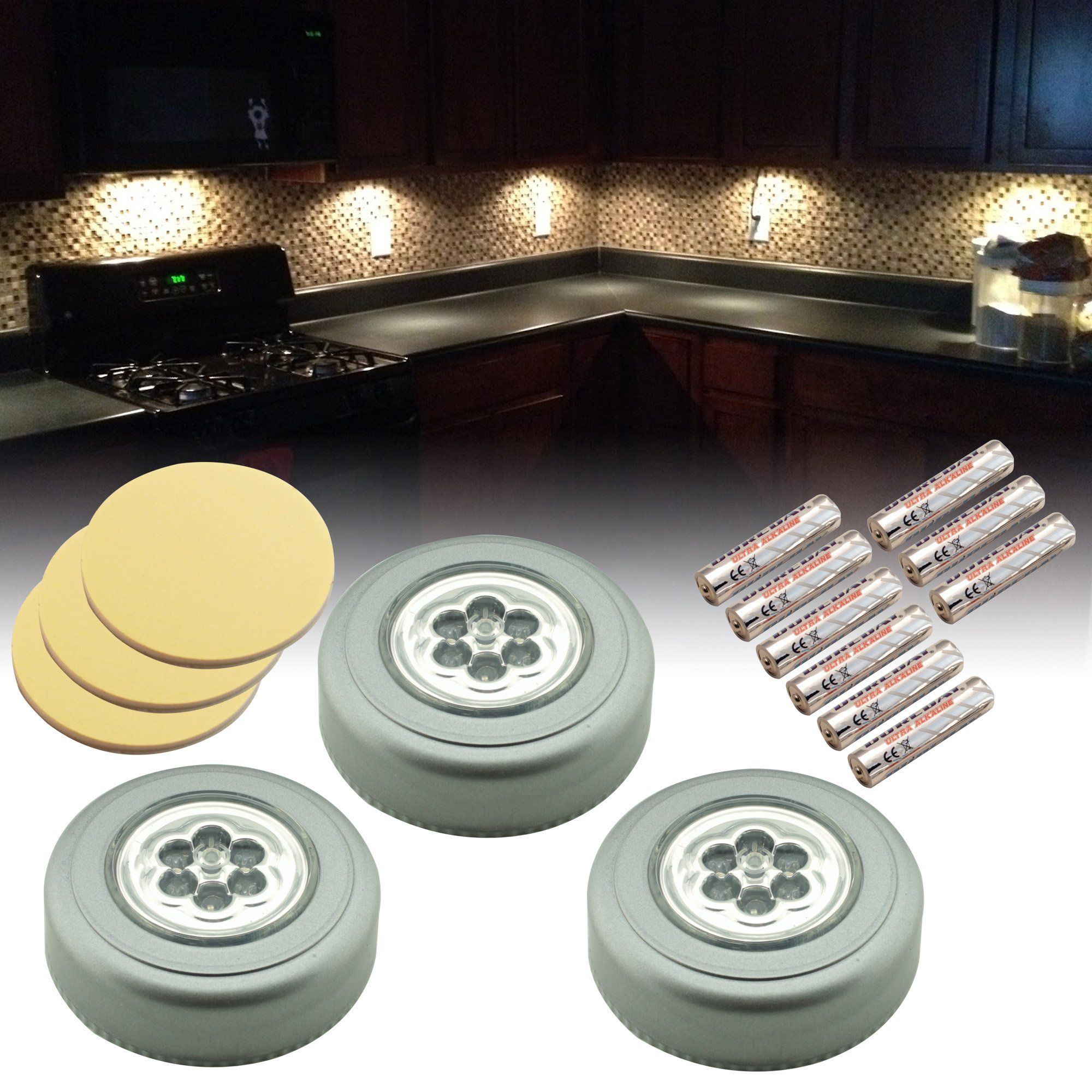 Hobbie Bug Led Stick On Tap Light Silver 3 Pack Batteries Included Amazon Com Led Stick Puck Lights Led Light Stick