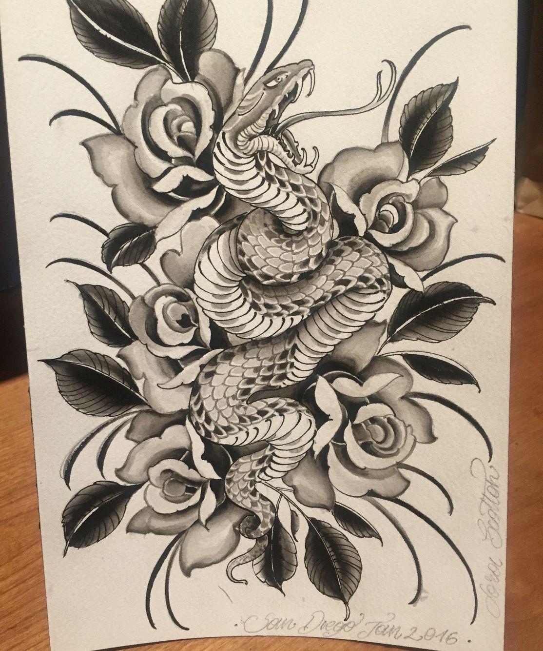 Snake Sandiego Larascotton Painting Illustration Japanese Snake Tattoo Traditional Snake Tattoo Body Art Tattoos