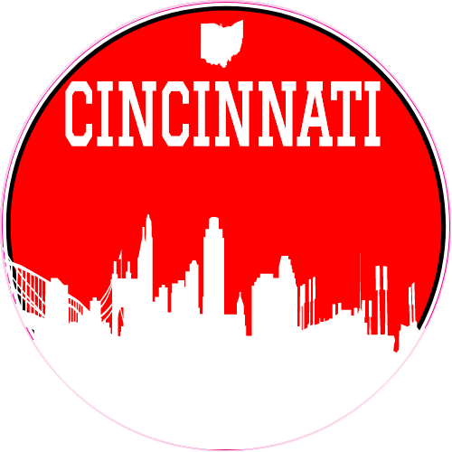 Cincinnati red skyline circle sticker u s custom stickers