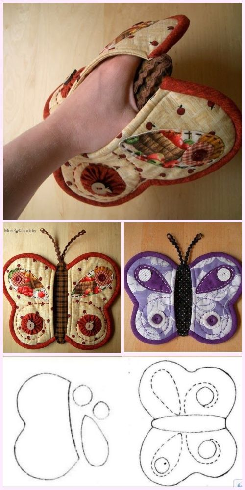 Quilted Butterfly Potholder Sew Free Pattern&Paid | Sewing ideas ...