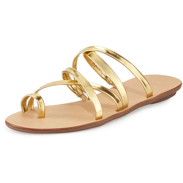 d83eb8a26 Loeffler Randall Sarie Leather Toe-Ring Flat Sandal ($185) ❤ liked on  Polyvore featuring shoes, sandals, gold, leather slide sandals, flat  leather sandals, ...