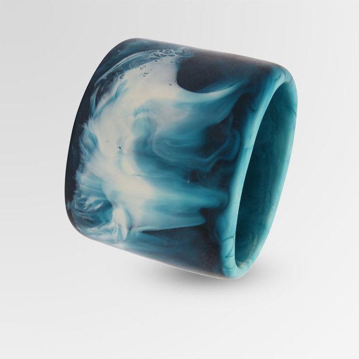 Dinosaur Designs Long Resin Band Bangle Moody Blue Swirl