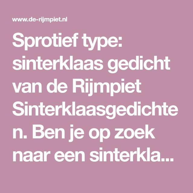 Sprotief Type Sinterklaas Gedicht Van De Rijmpiet
