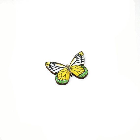 Yellow Butterfly Brooch Wood Accessory Badge by LaurasJewellery, £6.00