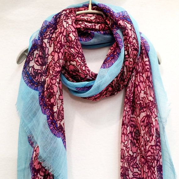 Pink Laces Print / Light Blue Trim Spring Summer / Autumn Scarf