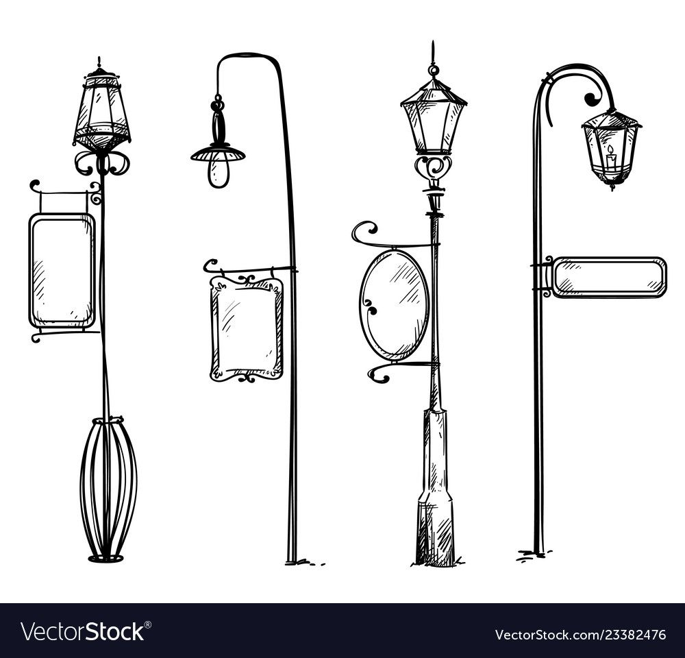 Street Lamps With Information Signs Vector Image On Vectorstock Street Lamp Drip Art Art Wallpaper Iphone