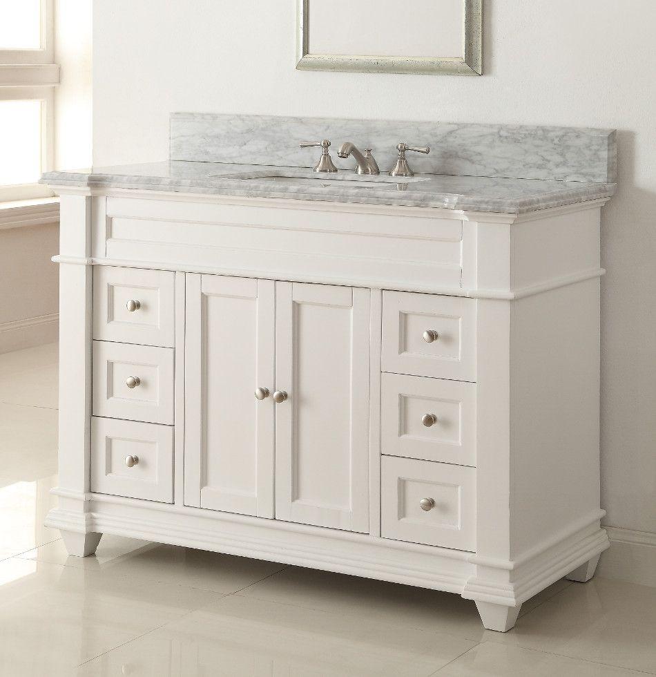 48 Inch Adelina Bathroom Vanity White Finish Carrara Marble Top