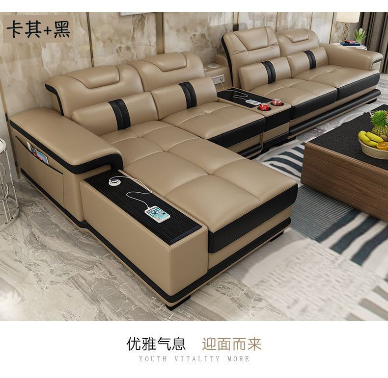 Living Room Sofa Set Corner Sofa Speaker Real Genuine Cow Leather Sectional Sofas Minimalist Living Room Sofa Set Leather Sofa Living Room Living Room Leather