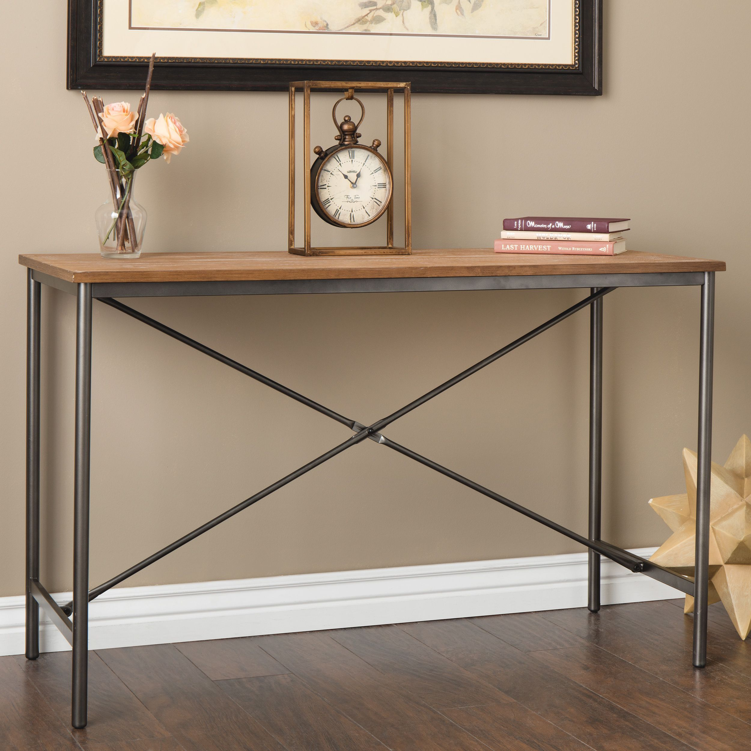 Dimensions Elements Cross Design Grey Sofa Table Brown