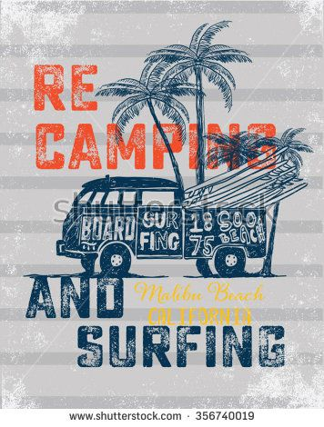 815b75f9d1 Van Surf Illustration   t-shirt graphics   vectors  typography  pacific surf  wave  summer tropical heat print  surf print vector set  wave illustration  ...