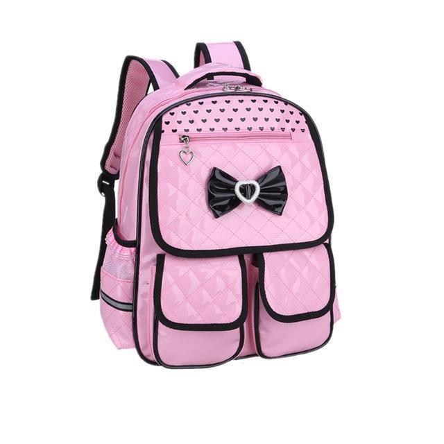 Pink Handbag Girls School Backpack Cute Princess Bow Multifunction Storage Book Bag Handbag For Primary