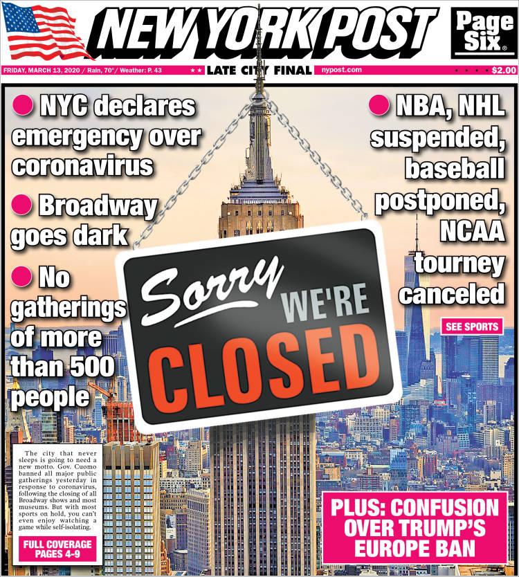 Periódico New York Post (USA). Periódicos de USA. Toda la