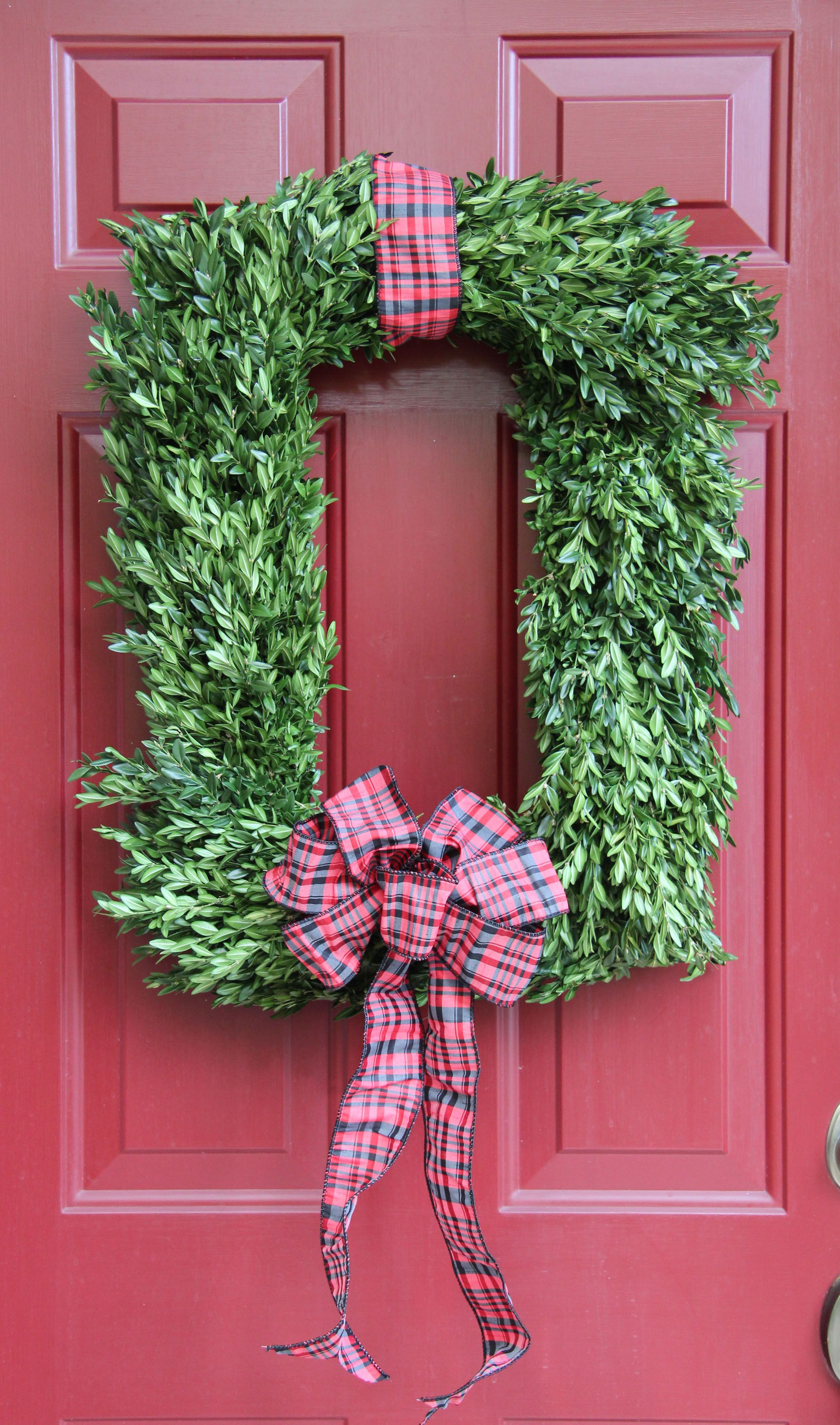 Christmas Wreath - rectangle boxwood wreath with ribbon | Wreaths ...