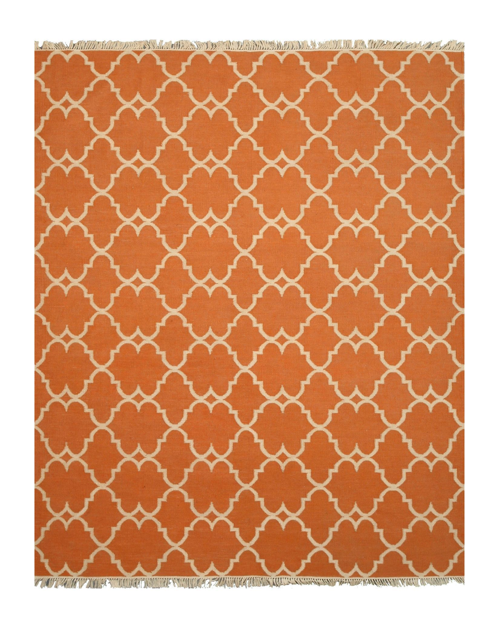 Handmade Polyester Orange Transitional Trellis Reversible Moroccan