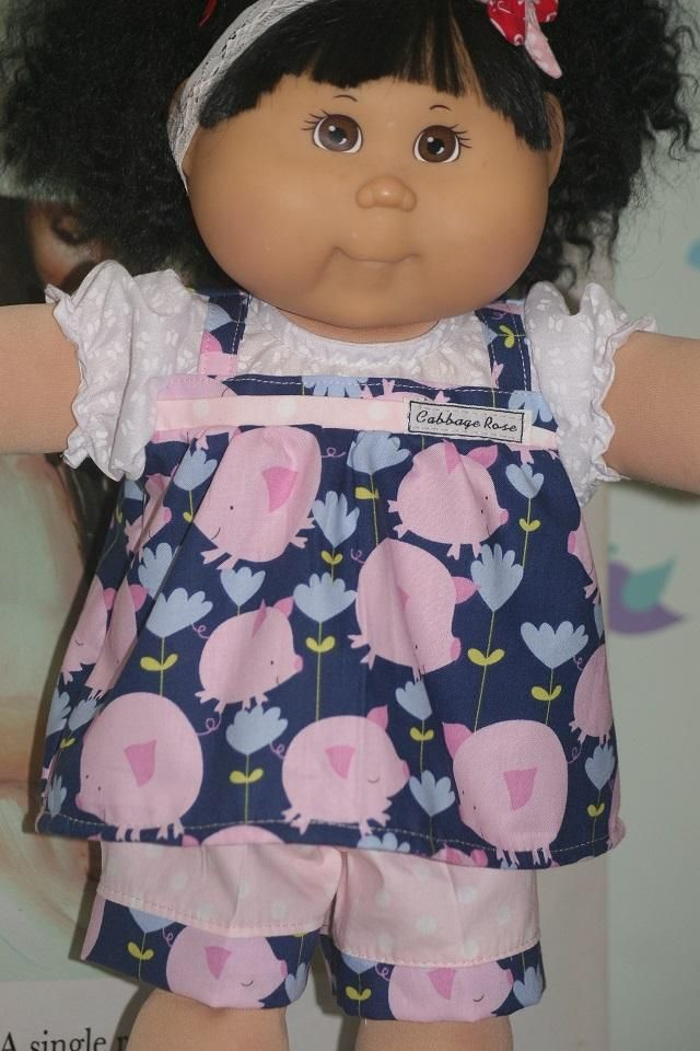 "DRESS Rose Pink Flowers on white dress w// lace trims for 16/"" CPK Cabbage Patch K"