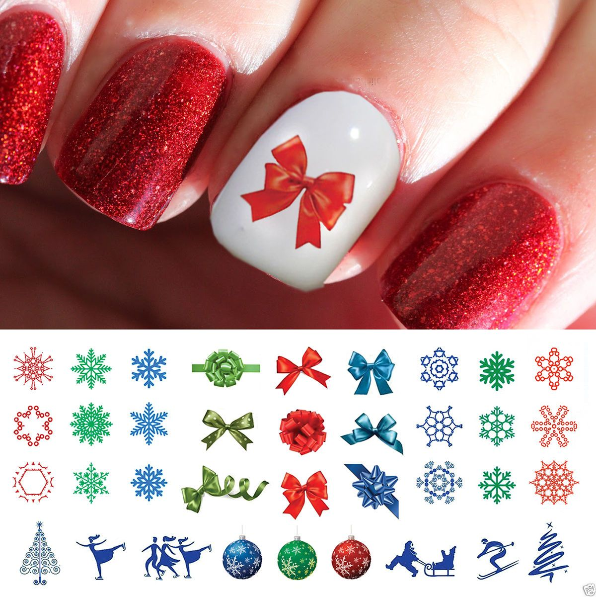 Holiday Christmas Nail Art Waterslide Decals #5 - Salon Quality ...